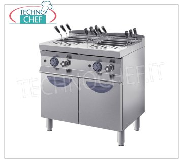 TECHNOCHEF - GAS PASTA COOKER on MOBILE, line 900, 2 INDEPENDENT TANKS from lt.40 + 40 Pasta cooker with GAS, INOX BIM, line 900, 2 independent tanks of lt.40 + 40, thermal power 24.4 Kw, weight Kg.90, dim.mm.800x900x900h