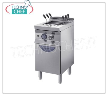 TECHNOCHEF - ELECTRIC PASTA COOKER on MOBILE, Line 900, 1 tank of lt.40 ELECTRIC COOKER, BIM STAINLESS STEEL, Line 900, 1 tank lt.40, V.400 / 3, electric power Kw 9,2, weight Kg.50, dim.mm.400x900x900h