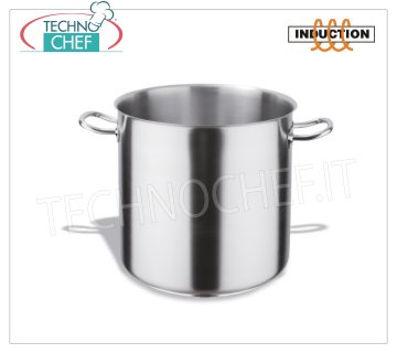 Technochef - Pots 2 handles 18/10 STAINLESS STEEL, professional for Induction Stainless steel pot with 2 handles, capacity 3 liters, also suitable for induction hobs, diam. 16 x 16h cm