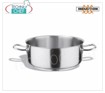 Technochef - 2 Handles Low Stainless Steel Casserole, Professional for Induction Low casserole with 2 stainless steel handles, capacity 1.5 liters, also suitable for induction hobs, diam. cm.16 x 7,5h