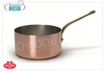 "Ballarini Professionale - Medium Casserole in Tinned COPPER internally, 1 handle, 2 mm thick Medium pure COPPER casserole 1 handle ""French gourmet"" style, tin-plated interior, 1000 SERIES, 140 mm diameter, 70 mm high"