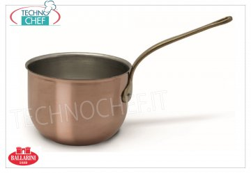"Ballarini Professionale - Polnetto in Tinned COPPER internally, 1 handle Purse in COPPER Purissimo 1 ""French gourmet"" style handle, Tin-plated interior, 1000 SERIES, 180 mm diameter, 135 mm high"