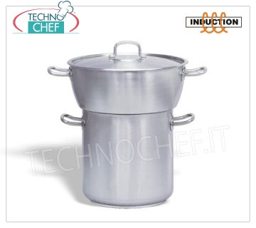 Technochef - Cous-Cous Pot, Stainless Steel, Professional for Induction Cous-Cous stainless steel pot, rounded couscousser with lid, in stainless steel, capacity 20/24 liters, also suitable for induction hobs, diam.cm.40 / 32 x 20 / 32h