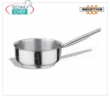 Technochef - Low Casserole Inox 1 handle, Professional for Induction Low casserole 1 stainless steel handle, capacity 1.5 liters, also suitable for induction hobs, diam. cm.16 x 7,5h