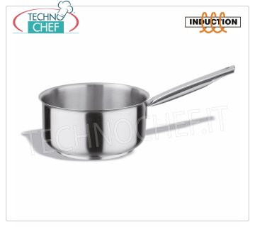 Technochef - Low Casserole INOX 1 handle, Professional for INDUCTION Low stainless steel saucepan, 1 handle, capacity 0.7 liters, also suitable for induction hobs, diam. 12 x 7h cm