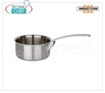 Piazza - STAINLESS STEEL CASSEROLE 1 handle, for INDUCTION MEDIUM CASSEROLE 1 handle, Collection 3 Ply Trimetallo, suitable for INDUCTION PLATES in STAINLESS STEEL 18/10, diameter mm.100, high mm.45.