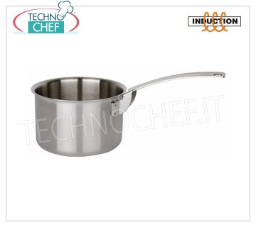 Piazza - HIGH STAINLESS STEEL CASSEROLE 1 handle, for INDUCTION HIGH CASSEROLE 1 handle, Collection 3 Ply Trimetallo, suitable for INDUCTION PLATES in STAINLESS STEEL 18/10, diameter mm.100, high mm.65.