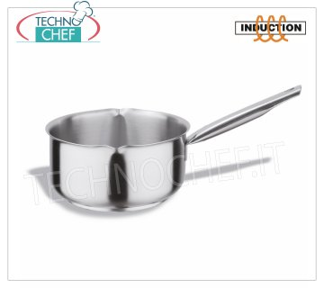 Technochef - Stainless Steel Casserole with Spouts, 1 handle, Professional for Induction Stainless steel saucepan with pouring spouts, capacity 1.5 liters, also suitable for induction hobs, diam.cm.16 x 7.5h