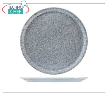 SATURNIA - PIZZA PLATE - GRANITE GRAY Porcelain Collection - Restaurant Dishes PIZZA DISH 31 cm, NAPLES Collection - GRANITE GRAY, SATURNIA brand - Available for purchase in a pack of 6