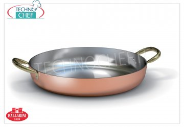 Ballarini Professionale - Copper tin plated internally, 2 handles, 2 mm thick Pure copper pan with 2 handles, tin-plated interior, 1500 series, 240 mm diameter, 50 mm high