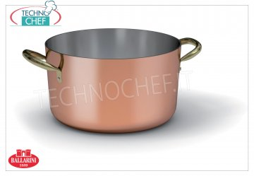 Ballarini Professionale - Medium Casserole in Tinned COPPER internally, 2 handles, 2 mm thick Medium casserole in COPPER Purissimo 2 handles, tin-plated interior, SERIES 1500, diameter 200 mm, high 100 mm