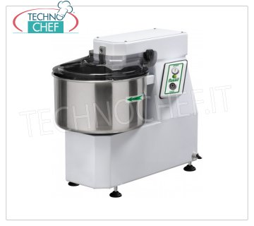 FIMAR - Technochef, Spiral Dough Mixer with 22 lt Tub, Mod.18SN Head and bowl fixed spiral mixer of 22 liters, mixing capacity 18 kg, THREE-PHASE, V 400/3, kW 0.75, dim. mm 390x670x600h