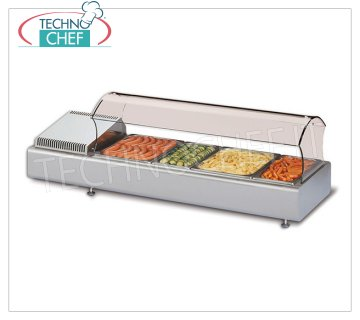 Technochef - REFRIGERATED COUNTER DISPLAY CABINET with SELF-SERVICE CURVED GLASS, Temp. + 2 ° / + 10 ° C Refrigerated counter display case with curved self-service glass, container capacity: all formats GN - H max 100 mm, temperature + 2 ° / + 10 ° C, static refrigeration, V.230 / 1, Kw.0.13, Weight 40 Kg, dim.mm.1023x380x370h