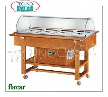 Refrigerated display stands Refrigerated display trolley in WALNUT or WENGE color, brand FORCAR, complete with plexiglass dome and 2 support shelves, capacity 4 GN 1/1 containers (not included), temp. -5 ° / + 5 ° C, static refrigeration , V.230 / 1, Kw.0.25, dim.mm.1480x1120x1250h
