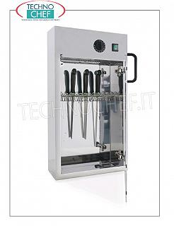 Sterilizers for knives and tools STAINLESS STEEL STAINLESS STEEL UV KNIVES, capacity 14 KNIVES, Kw. 0.16, dim.mm.400x130x670h