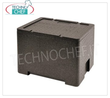 Technochef - ISOTHERMAL CONTAINER for GN 1/2 Polypropylene containers Isothermal container in polypropylene, upper opening for inserting GN 1/2 containers, internal dimensions 350x270x250h mm, external dimensions 415x320x320h mm