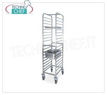 TECHNOCHEF - STAINLESS STEEL TROLLEY for 18 TRAYS GN 1/1, Mod.2071 STAINLESS ROPE TROLLEY with anti-tipping guides at '' C '' for 18 TRAYS GN 1/1 (mm 530x325), dim.mm.440x600x1760h