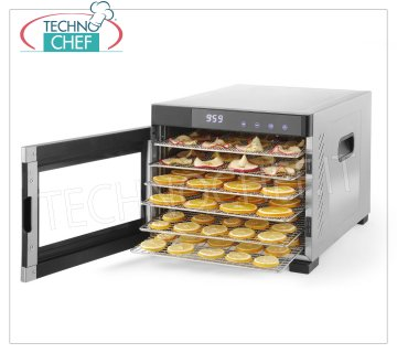 Technochef - PROFESSIONAL DRIER for FRUITS and VEGETABLES with 6 STAINLESS STEEL TRAYS, Mod. 229033 DRIER for FRUITS and VEGETABLES with 6 STAINLESS STEEL TRAYS (shelves) of mm 327x330, digital control panel, temperature adjustable from 35 ° C to 70 ° C, V.230 / 1, Kw.0,65, dim.mm.340x450x311h