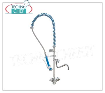 Countertop single-hole tap with spout and suspended shower Countertop single-hole tap with spout and suspended shower