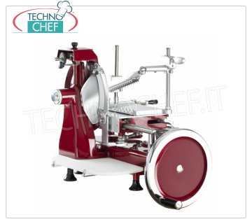 TECHNOCHEF - MANUAL FLYWHEEL SLICER, blade Ø 250 mm, Professional, Mod. 250 FLYWHEEL Manual FLYWHEEL slicer Salumi, blade diameter 250 mm, Standard colors: RED, BLACK, CREAM or Customizable on request, dim.mm.520x680x510h.
