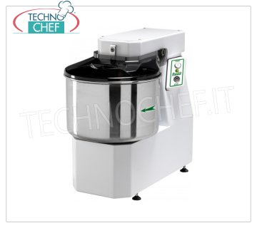 FIMAR - Technochef, Spiral dough mixer with lt.32 tank, Mod.25SN Head and bowl fixed spiral mixer of 32 liters, mixing capacity 25 kg, THREE-PHASE, V 400/3, kW 1,5, dim. mm 430x780x710h
