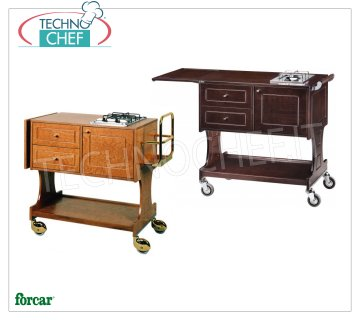 Forcar - FLAMBE TROLLEY with 2 SEPARATE FIRES, color WALNUT, Mod.CL2752 Flambé trolley in WALNUT stained wood, with 2 burners, lateral flap, bottle holder, compartment below with hinged door, 2 drawers and lower shelf, dim.mm.1070x580x910h