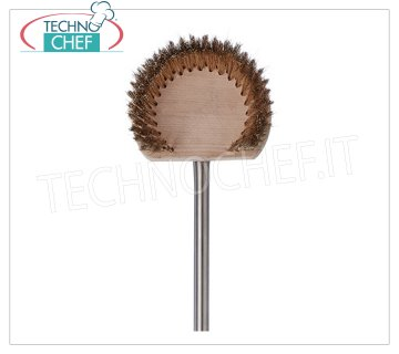 TECHNOCHEF - Round wooden brush with stainless steel handle, Mod.2760 Brush for round wooden oven, diameter 17 cm, with 18/10 stainless steel handle, 1.5 meters long