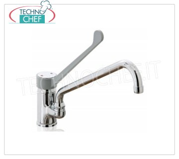 Single hole mixer tap with spout from 25 to 30 cm Single-hole mixer tap with clinical lever and swivel spout in round tube