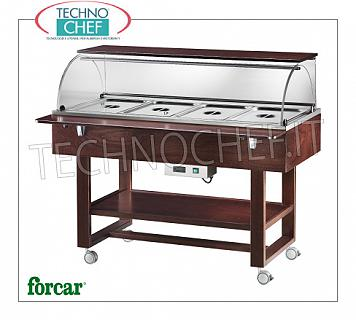 Refrigerated display stands Refrigerated display trolley in WALNUT or WENGE color, brand FORCAR, complete with plexiglass dome, 2 support shelves, capacity 4 GN 1/1 containers (not included), temperature -5 ° / + 5 ° C, static refrigeration , V.230 / 1, Kw.0.25, dim.mm.1480x900x1260h