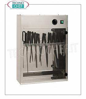 Sterilizers for knives and tools STERILIZER UV STAINLESS STEEL KNIVES for wall, capacity 20 KNIVES, Kw.0.16, dim.mm.510x130x670h