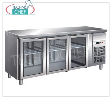 Forcar - Refrigerated Table Fridge 3 Glass Doors, lt. 417, Temp. -2 ° / + 8 ° C, Ventilated, mod.G-GN3100TNG Refrigerated Table 3 Glass Doors and neutral drawer, Professional, capacity lt. 417, temperature -2 ° / + 8 ° C, Gastronorm 1/1, ventilated refrigeration, Gas R290, internal light, V.230 / 1, Kw.0, 26, Weight 134 Kg, dim.mm.1795x700x860h