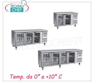 glass door refrigerated tables