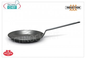 Ballarini Professionale - LOW STRIPED FRYING PAN 1 HEAVY IRON handle for INDUCTION, Series 3000 STRIPPED FRYING PAN 1 handle, SERIES 3000, suitable for INDUCTION HARD PLATES in heavy IRON, diameter mm.200, high mm.25