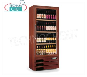 Technochef - 1 Door WINE Refrigerator for 80 Bottles, Ventilated, Temp. + 5 ° / + 16 ° C, Wooden wine cellar, Professional 1 glass door, for 80 Bottles, Ventilated, temperature + 5 ° / + 16 ° C, Led lighting, V.230 / 1, Kw.0,65, Weight 114 Kg, dim. mm.613x536x1922h
