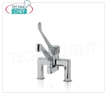 Countertop two-hole mixer tap SINGLE-LEVER countertop double-handle mixer tap with CLINICAL LEVER and 250 mm swivel spout