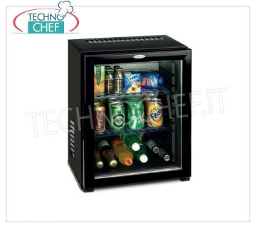 Technochef - Frigor Minibar for hotel room with glass door, lt.30, Frigor Minibar for hotel room with glass door, capacity 30 lt, temperature + 8 ° / + 14 ° C, V.230 / 1, Kw.0,06, Weight 13 Kg, dim.mm.512x419x423h