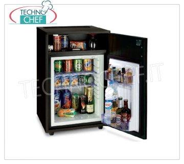 Technochef - Frigor Minibar for hotel room with cabinet and storage compartment, lt. 40, Frigor Minibar for hotel room inserted in cabinet with storage compartment, capacity 40 lt, temperature + 8 ° / + 14 ° C, V.230 / 1, Kw.0.06-0.075, Weight 34 Kg, dim.mm.770x475x455h