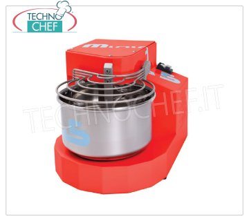 TECHNOCHEF - Spiral Dough Mixer with 7 lt. 1 Speed Stainless Steel Bowl, Mod.3100 / MINIMA5 / M Spiral Dough Mixer with fixed head, 7 l stainless steel tank, 1 speed, 90 rpm, available in the following colors: white, red, black, V.230 / 1, Kw.0.37, Weight 36 Kg, dim.mm.350x480x370