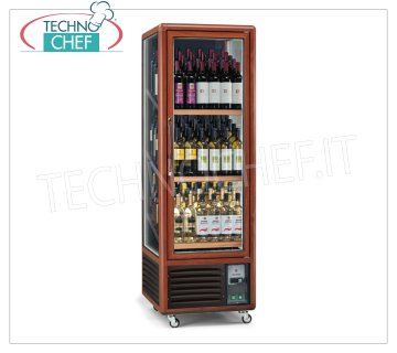 Technochef - Refrigerator for WINE 1 Door for 112 Bottles, 3 Temp. + 5 ° / + 9 ° / + 18 ° C, Wine cellar in wood decorated Aluminum, for 112 Bottles, Professional, 3 temperatures + 5 ° / + 9 ° / + 18 ° C, ventilated refrigeration, Led lighting, V.230 / 1, Kw.0,6, Weight 112 Kg, dim.mm.595x711x1810h