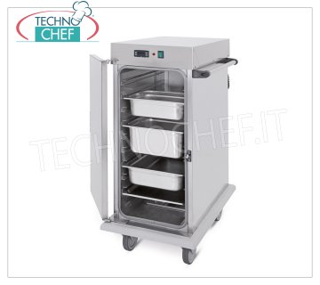 Technochef - VENTILATED HOT TROLLEY for temperature maintenance for 10 GN 1/1 TRAYS, Mod. 3411-10C HOT TROLLEY Ventilated for temperature maintenance, capacity 10 GN 1/1 TRAYS (mm.325x530), temp. + 65 ° / + 90 ° - SUPPORTS with '' C '' GUIDES, 6.6 mm pitch, HUMIDIFIER, V. 230/1, Kw. 1,6, dim.mm.480x800x1100h