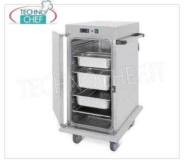 Technochef - VENTILATED HOT TROLLEY for temperature maintenance for 10 TRAYS GN 2/1, Mod. 3421-10C HOT TROLLEY Ventilated for temperature maintenance, capacity 10 GN 2/1 TRAYS (mm 650x530), temp. + 65 ° / + 90 ° - SUPPORTS with '' C '' GUIDES, 6.6 mm pitch,, HUMIDIFIER, V. 230/1, Kw. 1,6, dim.mm.720x920x1100h