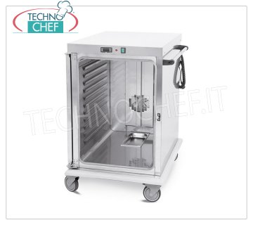 Technochef - VENTILATED HOT TROLLEY for temperature maintenance 10 TRAYS GN 2/1, Mod. 3421-10GS HOT TROLLEY Ventilated for Temperature Maintenance, capacity 10 GN 2/1 TRAYS (mm 650x530), temp. + 65 ° / + 90 ° - SUPPORTS with PRINTED GUIDES, pitch 5.5 mm, HUMIDIFIER, V.230 / 1, Kw. 1.6, dim.mm.720x920x1100h