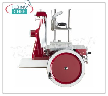 TECHNOCHEF - MANUAL FLYWHEEL SLICER, blade Ø 350 mm, Professional, Mod. 350 FLYWHEEL Manual Flywheel Slicer Verticle for Cured Meats, blade diameter 350 mm, Standard Colors: RED, BLACK, CREAM or Customizable on request, dim. mm 710x870x800h.