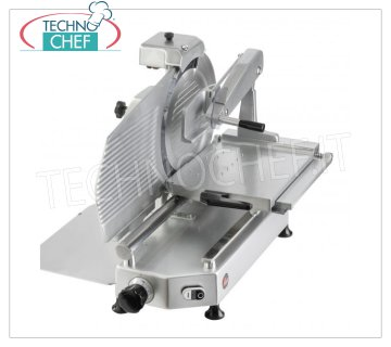 TECHNOCHEF - VERTICAL SLICER for CURED MEATS, blade Ø 350 mm, Professional, Mod.F 350TS-V Vertical slicer with salting arm, blade diameter 350 mm, in aluminum alloy, complete with fixed blade sharpener, V 230/1, Kw 0.300, Weight 45 Kg, dim.mm.650x650x640h