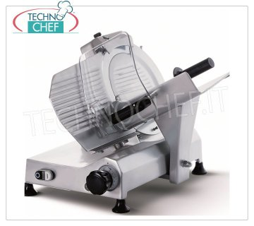 TECHNOCHEF - GRAVITY / INCLINED SLICER, blade Ø 275 mm, Professional, Mod.F275I Gravity / inclined slicer, 275 mm diameter blade, made of aluminum alloy, complete with fixed blade sharpener, V 230/1, Kw 0.245, Weight 22 Kg, dim.mm.495x465x440h