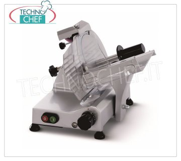 TECHNOCHEF - GRAVITY SLICER, blade Ø 195 mm, EC DOMESTIC EXECUTION, Mod.F195 AFD Gravity / inclined slicer, blade diameter 195 mm, in aluminum alloy, complete with fixed blade sharpener, EC DOMESTIC EXECUTION, V 230/1, Kw 0.132, Weight 10 Kg, dim.mm.360x345x315h