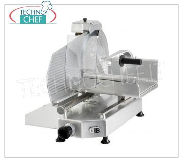 TECHNOCHEF - VERTICAL SLICER for MEAT, blade Ø 300 mm, Professional, Mod.F 300 TC-V Vertical slicer with meat cart, blade diameter 300 mm, in aluminum alloy, complete with fixed blade sharpener, V 230/1, Kw 0,300, Weight 34 Kg, dim.mm.550x530x550h