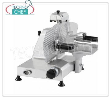 TECHNOCHEF - VERTICAL SLICER for MEAT, blade Ø 250 mm, Professional, Mod.F 250 TC- V Vertical slicer with meat trolley, blade diameter 250 mm, in aluminum alloy, complete with fixed blade sharpener, V 230/1, Kw 0.245, Weight 21 Kg, dim.mm.520x460x500h