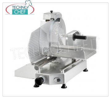 TECHNOCHEF - VERTICAL SLICER for MEAT, blade Ø 330 mm, Professional, Mod.F 330 TC-V Vertical slicer with meat trolley, blade diameter 330 mm, in aluminum alloy, complete with fixed blade sharpener, V 230/1, Kw 0.300, Weight 35 Kg, dim.mm.550x530x550h