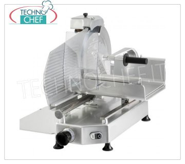 TECHNOCHEF - VERTICAL SLICER for MEAT, blade Ø 370 mm, Professional, Mod.F 370 TC-V Vertical slicer with meat trolley, blade diameter 370 mm, in aluminum alloy, complete with fixed blade sharpener, V 230/1, Kw.0,300, Weight 44 Kg, dim.mm.650x650x640h